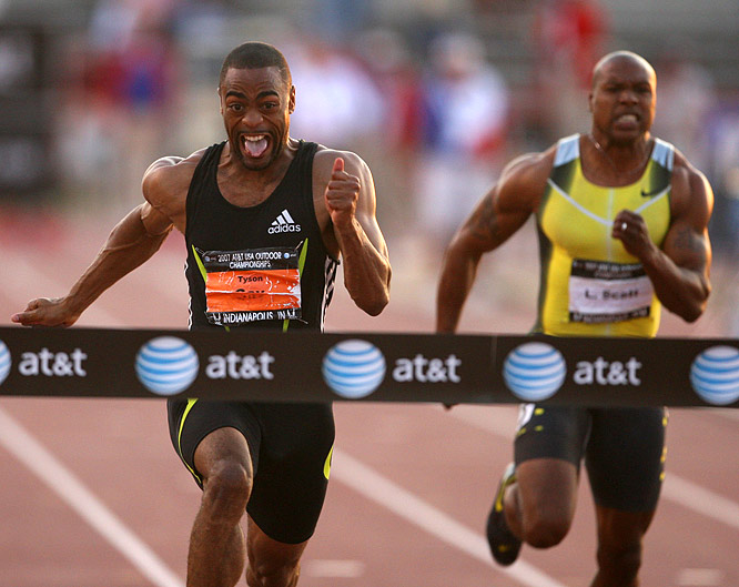 Tyson Gay (far left) cemented his status as the world's dominant sprinter. On Friday he won the men's 100m in 9.84 seconds, shattering the meet record of 9.90 jointly held by Maurice Greene and Leroy Burrell. It was also the fastest 100m in the world this year. On Sunday he ran the second fastest 200m in history, 19.62.