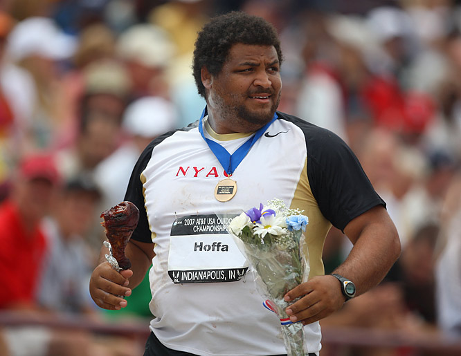 To the victor go the spoils, a gold medal, flowers and a turkey leg? Reese Hoffa, the 2006 World Indoor champion, dominated the men's shot put. His fifth throw, 70 feet, 5.25 inches, was the farthest of the day.