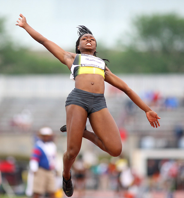 Tianna Madison's jump of 6.57m placed her fifth in the women's long jump. Grace Upshaw won the competition with a distance of 6.75m.