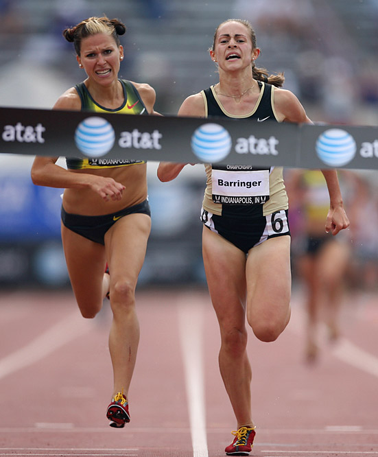 A close finish in the women's steeplechase saw Jennifer Barringer edge out Anna Willard in a time of 9:34.64