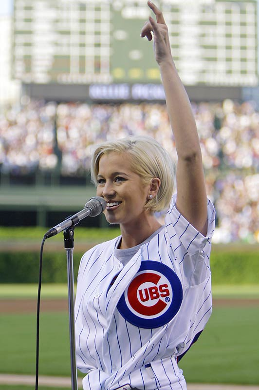 Taylor Hicks sang the national anthem before Game 4 of the Spurs-Cavs series, but  we thought you'd rather see a photo of Kellie Pickler, who sang the anthem at Wrigley Field earlier this week.
