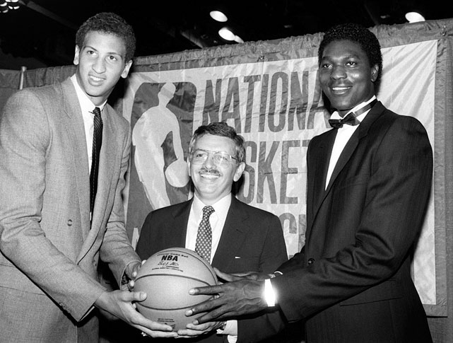 His selection underscores the cardinal rule behind NBA Draftology: You can't draft for need. The Blazers, flush with Jim Paxson and Clyde Drexler on the wings, needed a center and passed on drafting Michael Jordan, Charles Barkley and John Stockton. Bowie (pictured left, with commissioner David Stern and 1984 No. 1 pick Hakeem Olajuwon) struggled with injuries throughout his 10-year run and finished with career averages of 10.9 points and 7.5 rebounds.