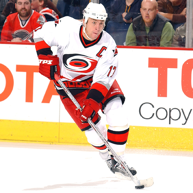 <b>ROD BRIND'AMOUR</b><br><br>Proving he's more than just a checker, Brind'Amour had 82 points -- his highest output in 11 seasons. The veteran center is the first back-to-back Selke winner since Jere Lehtinen did it for the Stars in 1998 and '99.