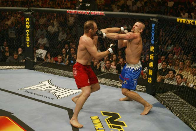 This was originally supposed to be the first Tito Ortiz vs. Chuck Liddell fight, but Ortiz wouldn't agree to terms. UFC brought in Randy Couture, and nobody gave him much of a chance. Couture was old and had lost two straight fights. That set up an amazing performance by Couture, who outboxed the striker Liddell the first two rounds, then took him down and finished him in the third.