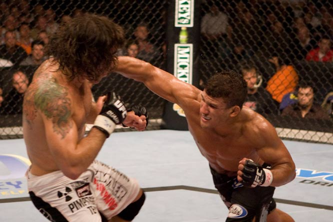 UFC's lightweight division has featured some fast-paced and explosive fights, and few were any better than this showdown. Both men were unrelenting in their aggression, and showcased well-rounded skills in all aspects of the sport. Griffin pulled off a controversial decision.