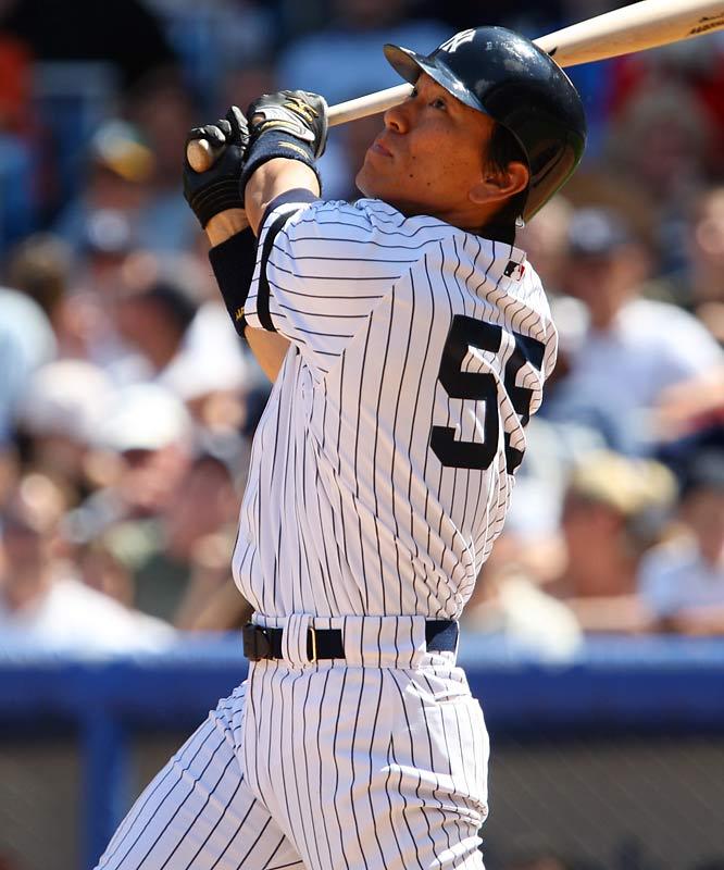 When the Yanks officially introduced Godzilla in '03, he was greeted by 350 media members, the most ever for a Yankee rookie. His debut was even more memorable: The three-time Japan League MVP became the first Bronx Bomber to hit a grand slam in his first game at Yankee Stadium. He's a career .294 hitter with 89 home runs in five seasons with New York.