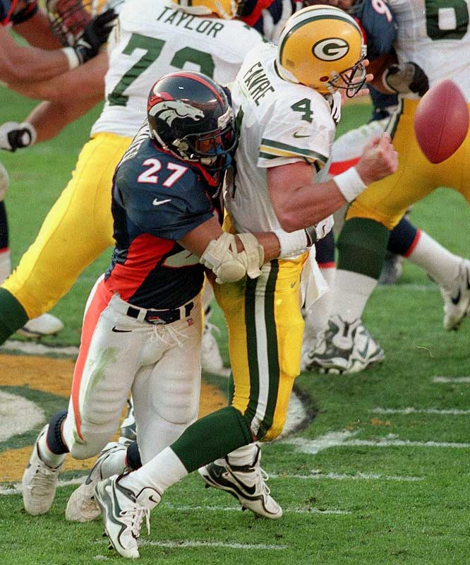 1989-1998 Denver, 1999 N.Y. Jets <br><br>Atwater, an eight-time Pro Bowler, often played more like a linebacker than a safety, delivering punishing hits and leading one of the best defenses in the NFL.