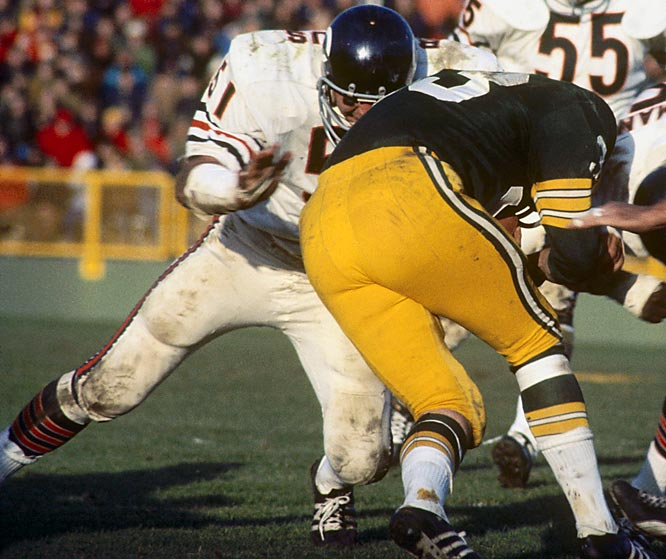 1965-1973, Chicago <br><br>Butkus didn't always look fast, but he got to the ballcarrier in a hurry and usually delivered a hit the offensive player remembered. Butkus was the most disruptive player in the game when he played.