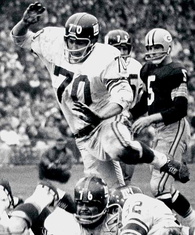 "1956-1963 N.Y. Giants, 1964-1967, 1969 Washington  <br><br>He didn't have great speed or strength, but he had desire and instinct. At 24 he became the first NFL player to appear on the cover of Time magazine. In the article he said, ""We try to hurt everybody. We hit each other as hard as we can. This is a man's game."""