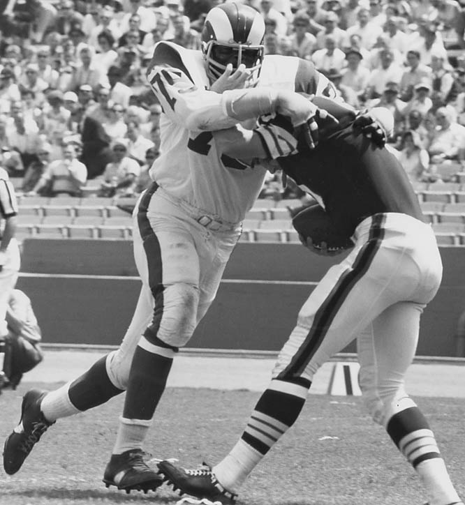 "1961-1971 Los Angeles Rams, 1972-1973 San Diego, 1974 Washington  <br><br>Jones saw football as a game of ""civilized violence."" He coined the term sack, saying, ""you sack a city -- you devastate it."" His other creation, which has been outlawed, was the head slap, where the pass rusher sharply slapped the blocker's helmet as the ball was snapped. He employed it as an effort to gain an extra step and break free."