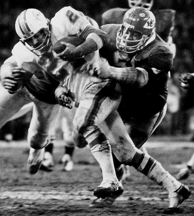 "1967-1977 Kansas City  <br><br>Lanier was known and respected for his ability to track opposing ball carriers and devastate them with the force of his tackles. His teammates called him ""Contact"" because of his powerful hits."