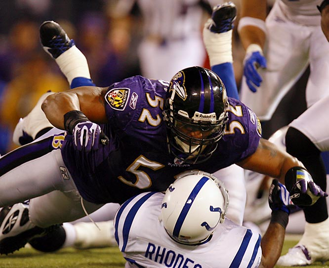 1996-present Baltimore  <br><br>His combination of toughness, strength and great athleticism has made him a sideline-to-sideline force. He can stop the opposition up the middle or blindside runners on the perimeter with his ferocious hits.