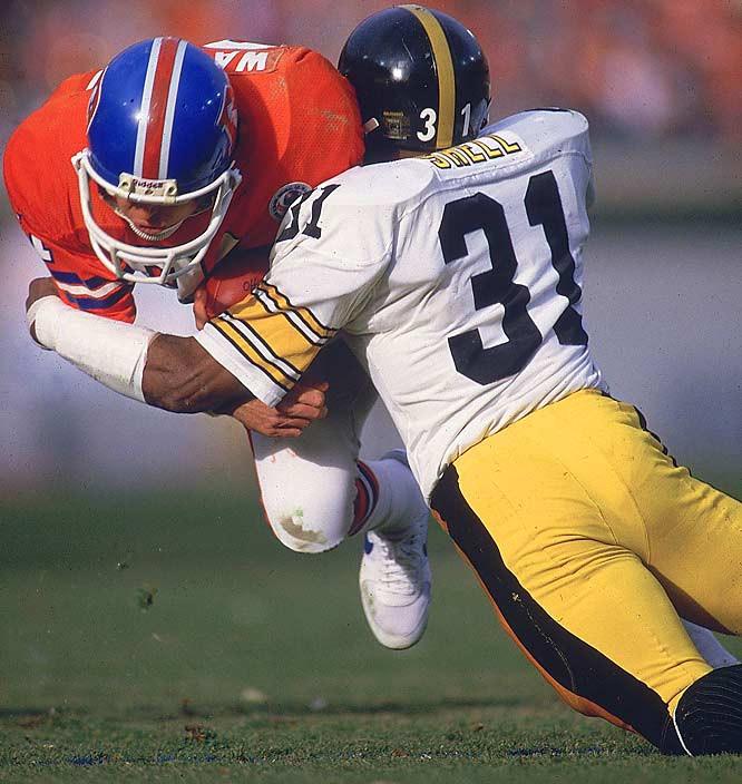 1974-1987 Pittsburgh <br><br>At 5-11 and 190 pounds, Shell was often much smaller than opposing receivers, but he was such a fierce tackler he won battles against many of the best and biggest tight ends and wide receivers. Shell hit people so hard a writer once punned, ''He just leaves 'em Shell-shocked.''
