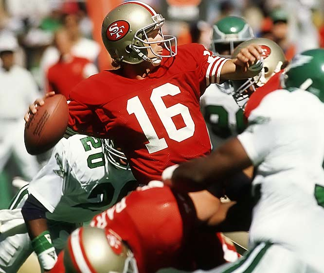 Joe Montana finished with 423 passing yards and five touchdowns against the Eagles in Week Three of the '89 season.