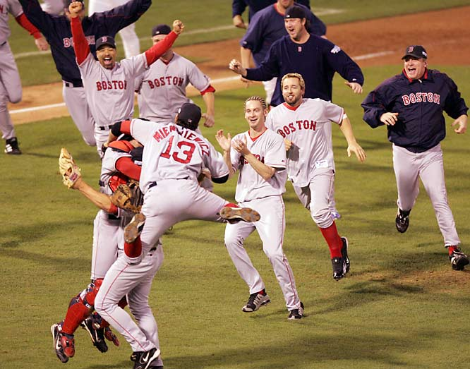 Cursed, no more: The Red Sox completed the sweep in 2004 to win their first Series since 1918.