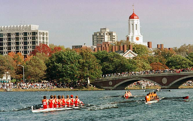 The picturesque Charles River that divides Boston from Cambridge hosts the largest annual rowing competition in the world, the Head of the Charles Regatta. Hundreds of thousands of fans line the banks of the river every year on the second to last weekend of October to watch rowers race down the three-mile course.