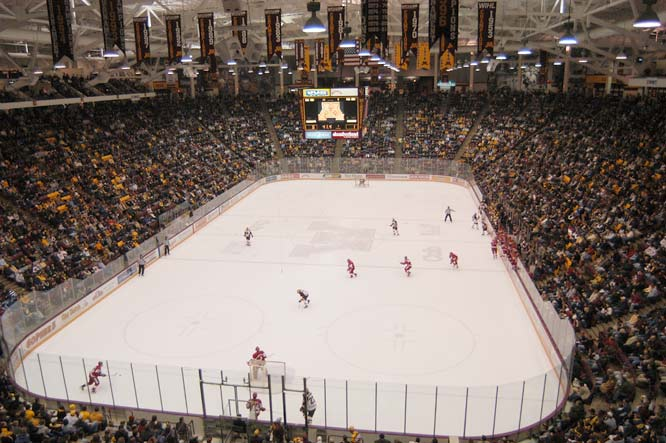 Opened in 1993, Mariucci combines the luxuries of a modern facility (unobstructed sightlines, multiple concession stands) while maintaining a sense of  history with a lobby that doubles as a shrine to Minnesota hockey. Add in 10,000 screaming Gopher fans and you have the best venue in college hockey.