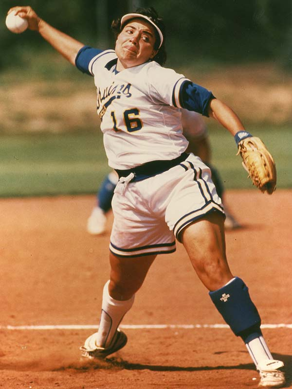 Fernandez led the NCAA in ERA during her final two seasons in 1992 and 1993 and added the batting crown during her senior year. She led the Bruins to the College World Series finals four times, winning in 1990 and 1992, and left the UCLA with a career 93-7 record.