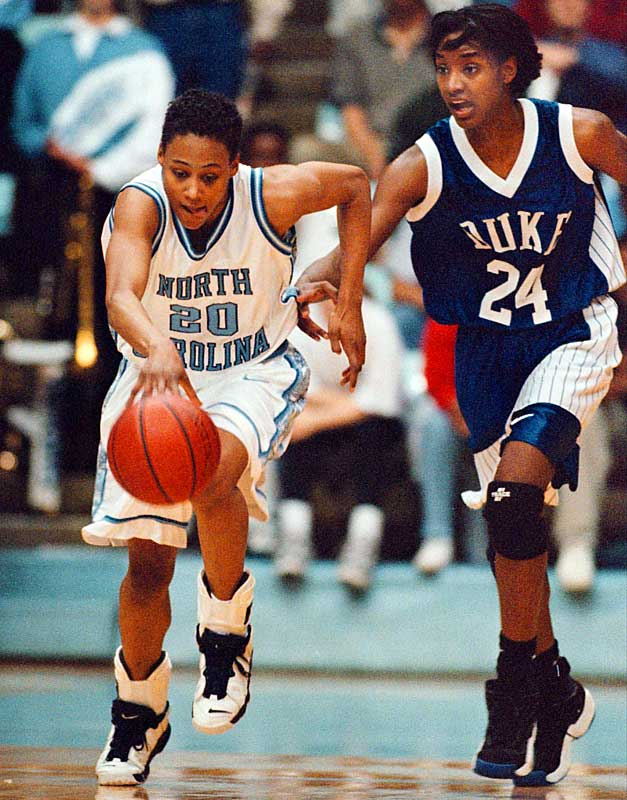 Jones, who would later win three gold medals at the 2000 Olympics, led the Tar Heels women's basketball team to the national championship in 1994.