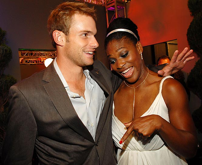 Serena Williams tells Andy Roddick he might want to consider wearing pants.