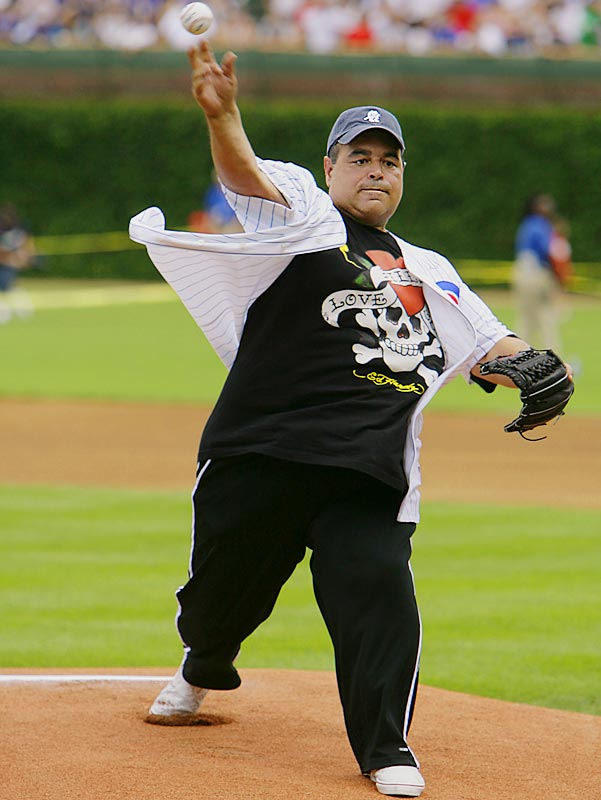 "Actor Joe Gannascoli, aka Vito from ""The Sopranos"", threw out the first pitch at a Cubs baseball game earlier this week. More important, why did he feel the need to wear a glove?"