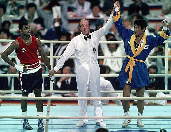 "Jones Jr. dominated hometown-favorite Park in the light middleweight final at the 1988 Olympics in Seoul, but when the judges gave their decision, it was Park who received the medal by a score of 3-2. Referee Aldo Leoni told Jones after the fight, ""I can't believe they're doing this to you."" Years later, East German police files indicated references to payoffs in the bout."