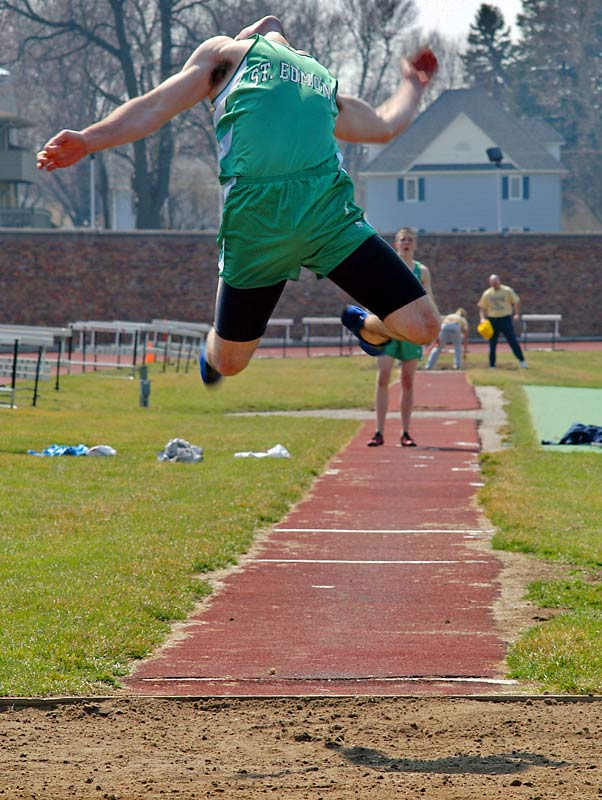 St. Edmond High's Joel Allen competes in the long jump in the CYO track meet in Ft. Dodge, Iowa.