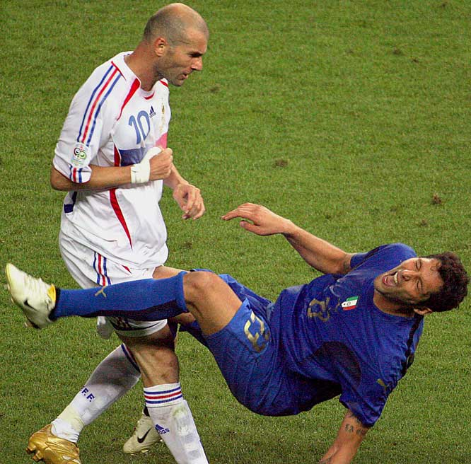 The merits of his behavior were debated long after the 2006 World Cup had concluded, but Zidane's headbutting of an Italian defender in extra time of the final will be the lasting image of the game's greatest player on its biggest stage.
