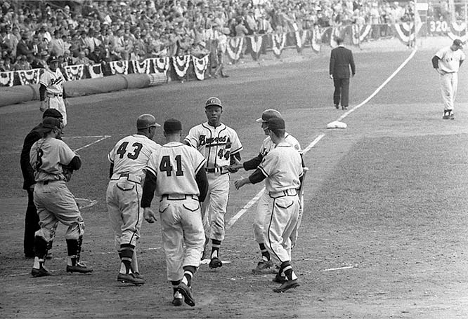 In 1957 Aaron led the Braves to a World Series victory over the Yankees. The Braves would lose a rematch to New York in 1958. Aaron excelled in the postseason, hitting .362 with six homers and 16 RBIs in 17 games, including 14 World Series games.