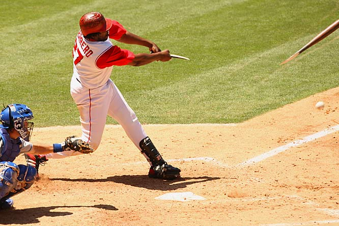 The Angels' Vladimir Guerrero breaks his bat as he grounds out against the Royals on June 27 at Angel Stadium. Kansas City outscored the Angels 18-7 in the series.