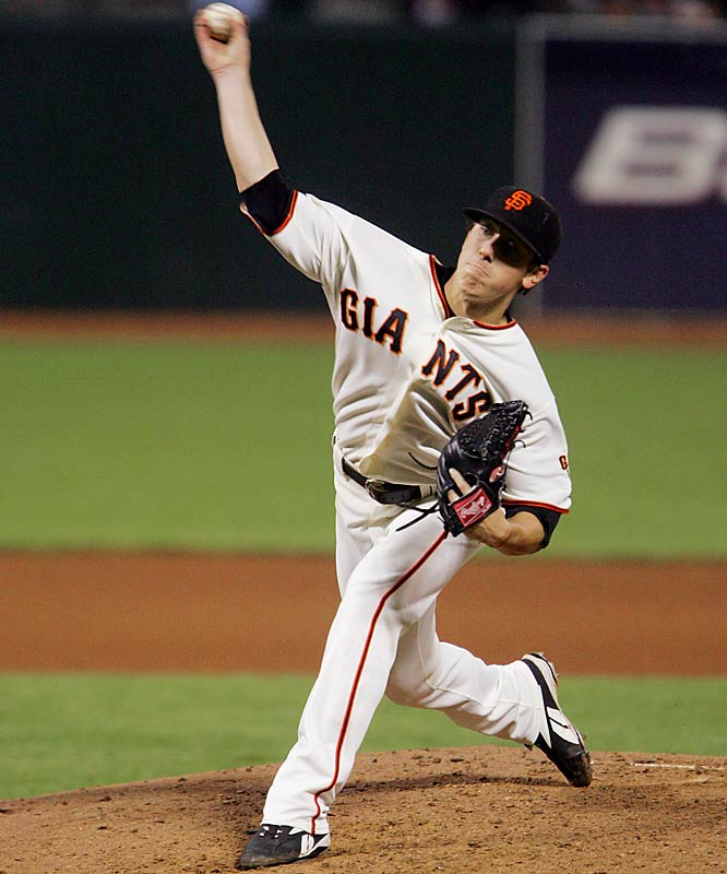 Rookie Tim Lincecum pitched seven scoreless innings with eight strikeouts against the Padres in a 4-3 win on June 25 at AT&T Park. Lincecum threw another seven-inning gem Sunday against the Diamondbacks, striking out a career-high 12 batters in the Giants' 13-0 win.