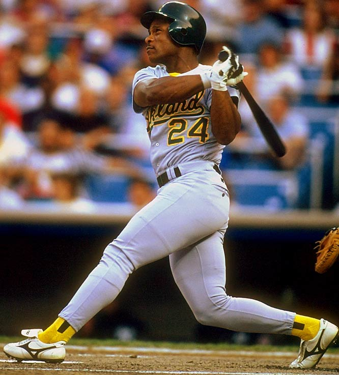 He led the American League 12 times in stolen bases (1980-86, 1988-91, 1998) and won the AL MVP in 1990 wearing No. 24 for the A's. As you suggested, he probably deserved some consideration at No. 24 (Willie Mays was our pick).