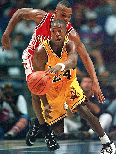 Sun Devil basketball players Stevin Smith and Isaac Burton, Jr. (pictured) admitted to accepting payoffs in exchange for their point-shaving efforts during home games during the 1993-94 season. Both later pleaded guilty to charges of conspiracy to commit sports bribery on Dec. 5, 1997.