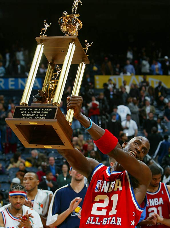 Garnett was named MVP of the 2003 All-Star Game after collecting 37 points, nine rebounds and five steals in the West's 155-145 double-overtime victory.