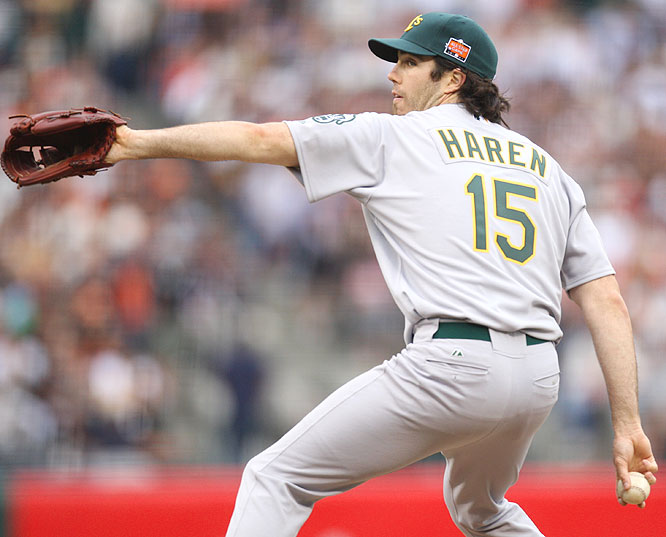 American League starter Danny Haren of the Oakland A's worked two innings, allowing one run on two hits.