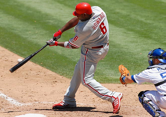 Ryan Howard hit two two-run homers in the Phillies 15-3 win over the Dodgers at Dodger Stadium on July 17. Howard batted .500 last week with 10 walks, five home runs and 13 RBIs.
