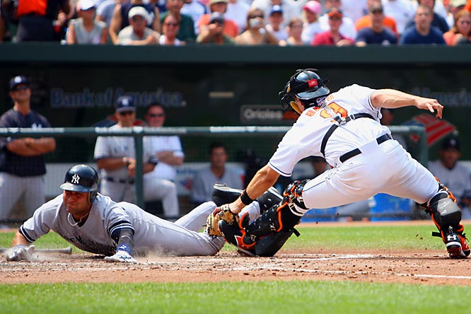 Derek Jeter is tagged out by Baltimore's Paul Bako in the second inning Sunday at Camden Yards. The Yankees won 10-6.