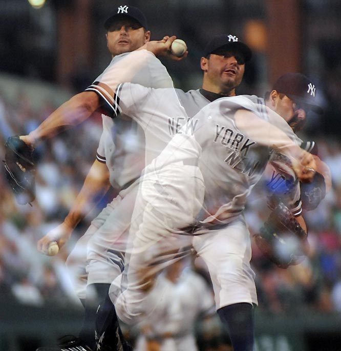 In a multiple exposure photograph, Roger Clemens pitches in the fifth inning Saturday against Baltimore. The Orioles won 7-5.