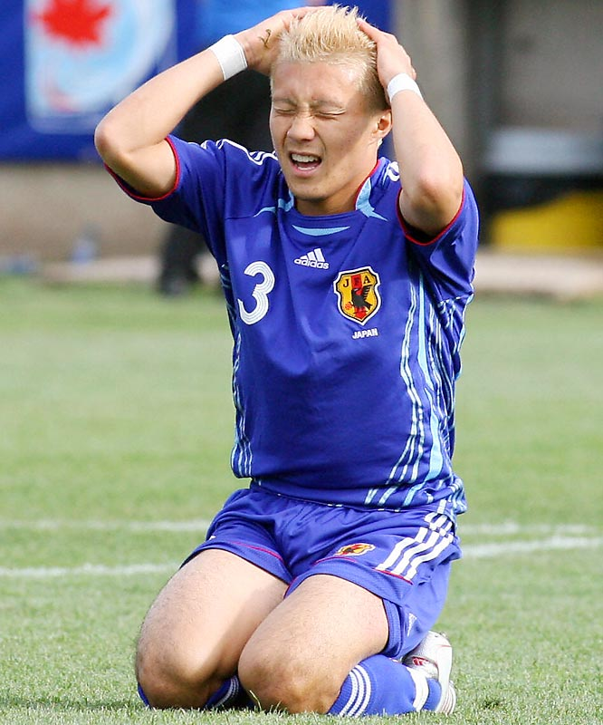 Michihiro Yasuda of Japan agonizes over not scoring during a FIFA U-20 World Cup football game in 2007.
