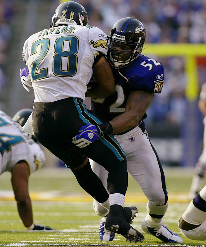 Lewis is 32 and not as intimidating as he once was. But ballcarriers and blockers still keep an eye out for him at all times. He's relentless and drives opponents to the ground. Fellow Ravens linebacker Bart Scott deserves mention here, but Lewis gets the nod because of all the hard hits he's delivered in his career.<br><br>Send comments to siwriters@simail.com.