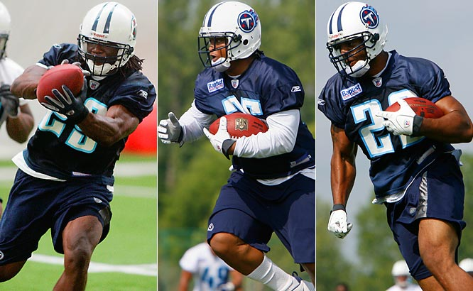 Brown is a veteran, White is a power back and second-round pick Chris Henry is a speedster. Brown re-signed with the Titans because he thought Tennessee offered him the best opportunity to start. The Titans hoped White would fill the void left by Travis Henry's departure, but he is struggling with his weight.