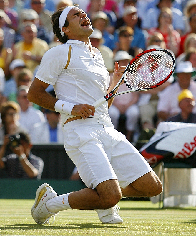 When he converted his second match point in the fifth set with an overhead winner, Roger Federer dropped to his knees -- the way Bjorn Borg used to celebrate.