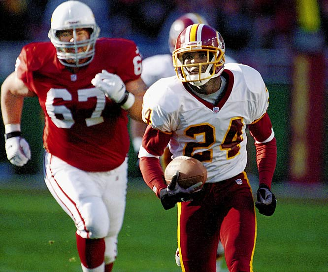 In 1999, the 21-year-old Redskins cornerback ran one back 59 yards against the Cardinals. In the same game, he also became the youngest to get three interceptions in one contest.