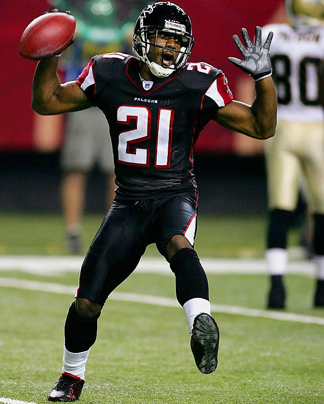 One of the fastest players in football, Hall had just turned 21 during his rookie year with the Falcons when he picked off Aaron Brooks in Week 12 of the 2004 season.