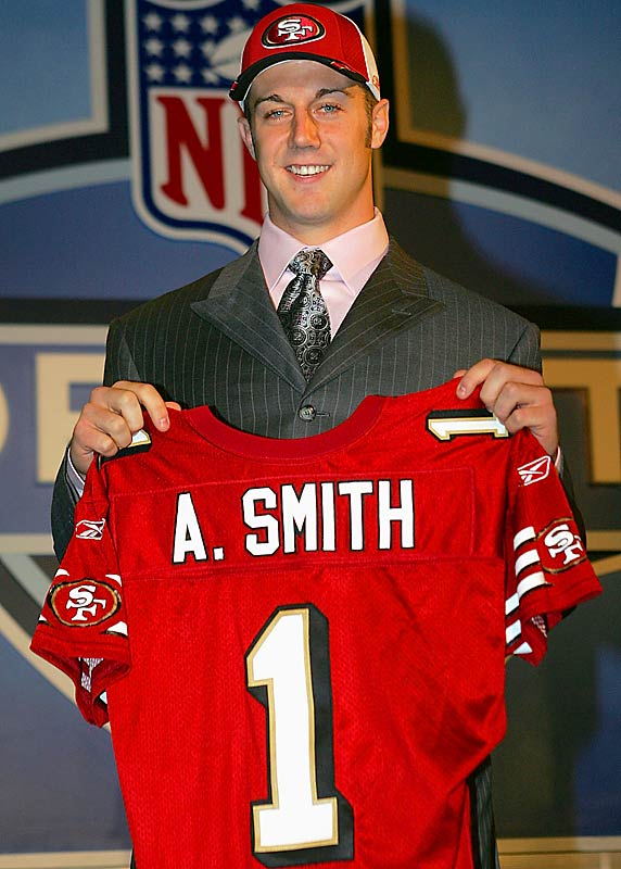 Desperate for a quarterback in a weak draft, the 49ers took the 20-year-old former Utah standout with the first pick in 2005.