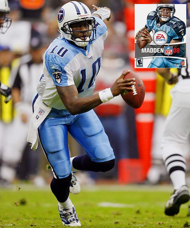 The 24-year-old Titans quarterback will grace the cover of the 2008 edition of the game, due in  mid-August, which sets him up, of course, to also become the youngest player to fall victim to the  Madden Cover Curse.<br><br>Send comments to siwriters@simail.com.