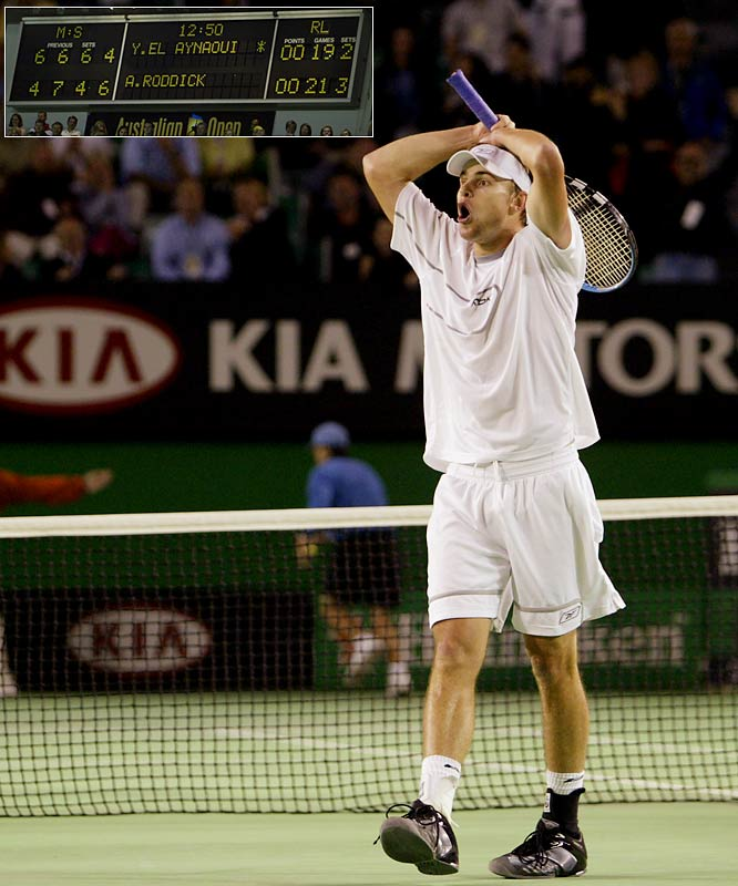 In one of the great matches in Australian Open history, Roddick outlasted Yonus El Aynaoui 4-6, 7-6 (5) 4-6, 6-4, 21-19 at the 2003 event. At the time it was the longest fifth set in a Grand Slam tournament during the open era, at 2 hours 23 minutes.