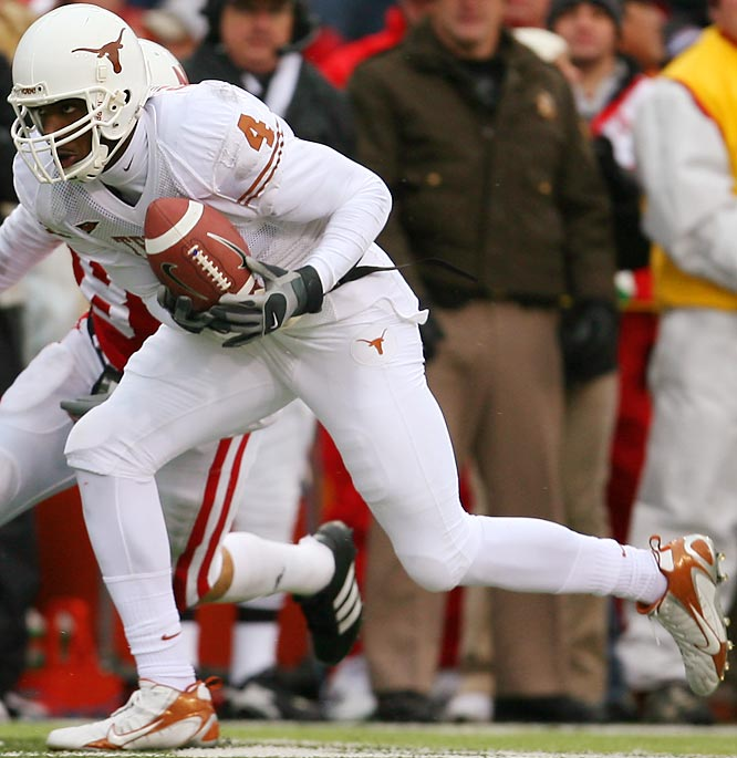 As Colt McCoy's favorite target, Sweed hauled in 12 touchdown receptions last year. Sweed's massive size (6-foot-5, 219 pounds) makes him a difficult matchup for any college cornerback.
