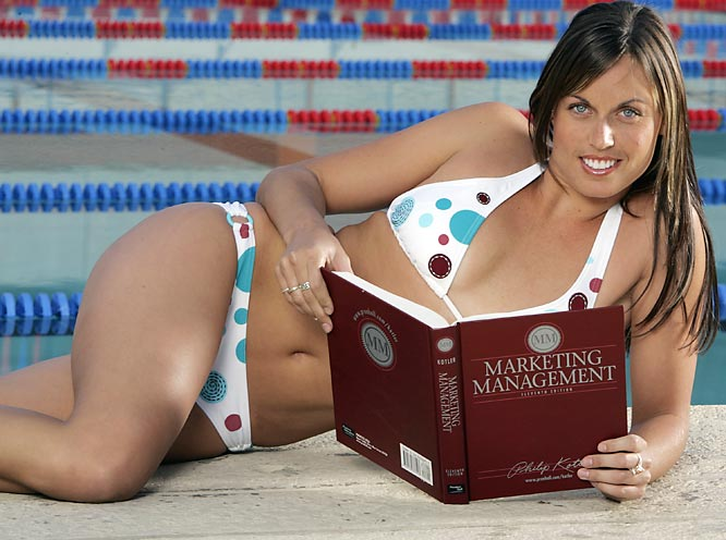 She may be known for her Olympic medals and <i>Playboy</i> pictorial, but Beard also spent two seasons at Arizona, where as a sophomore, she won an NCAA title in the 200-meter breaststroke. And as this photo demonstrates, she never neglected her studies.