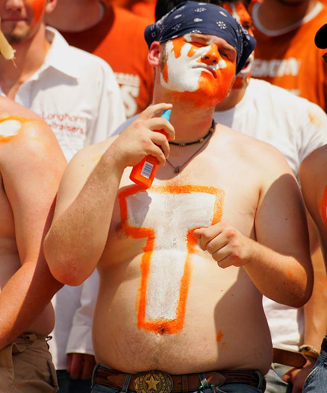 Despite their similar physiques, We don't expect this Texas fan to be confused with Matthew McConaughey